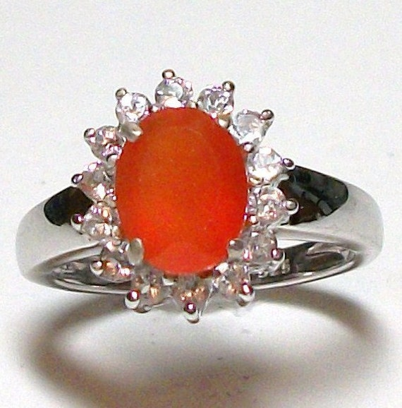 """Reserved for Amy - Carnelian and White Topaz Accent ring s 7  in sterling silver     """"Morning Glory """""""