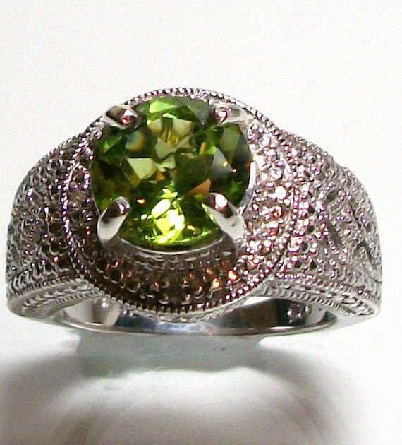 """RESERVED for AMANDA - Peridot and diamond accent ring set in solid sterling silver custom hand set s 6  gifts for her  """"Summer Treasure"""""""