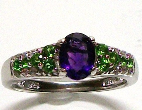 """Amethyst and chrome diopside accent ring s7 hand set in sterling silver gifts for her  """"Petite Chic"""""""