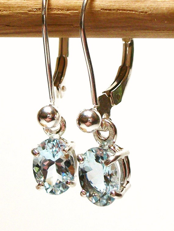 """Aquamarine lever back dangle earrings with ball design hand set in sterling silver gifts for her   """" Blue Ice"""""""