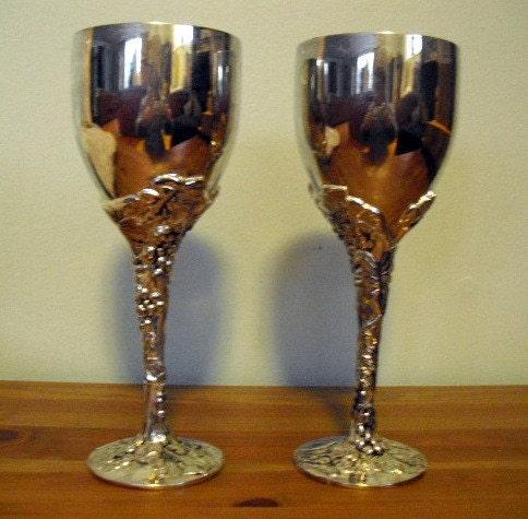 Vintage Wine Goblets Set Of 2 Godinger Wine By