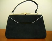 Free Shipping - Vintage Navy Blue Suede Kelly Bag