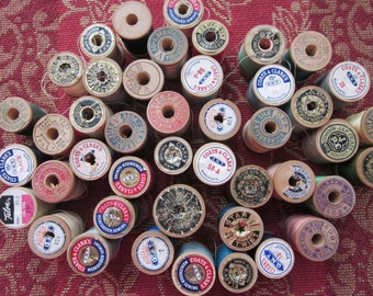 4 Vintage Wooden Spools with Thread