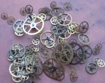 Vintage Tiny Brass Watch Gears