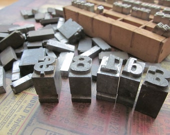 5 Vintage Metal Printer's Block Letters and Symbols