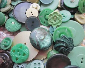 Vintage Shades of Green Buttons
