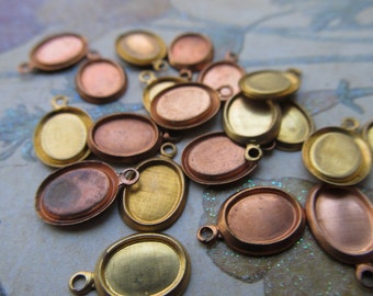 2 Vintage Tiny Copper and Brass Bezels