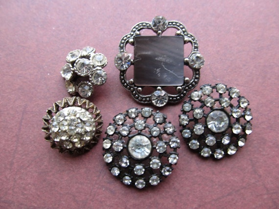 5 Vintage Metal Rhinestone Buttons