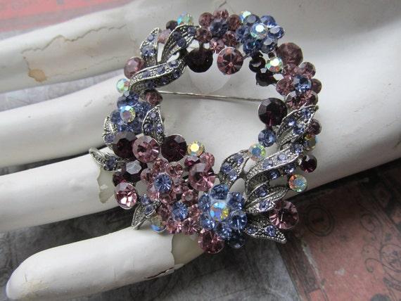 Vintage Lavender and Pink Rhinestone Wreath Brooch