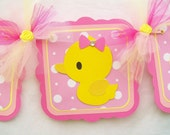 Rubber duck baby shower banner, its a girl, pinks and yellow