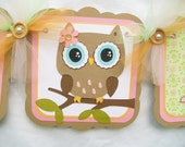 Woodland owl banner, owl baby shower, owl banner, it's a girl banner, pink and green decor, woodland baby shower. Table banner, photo prop