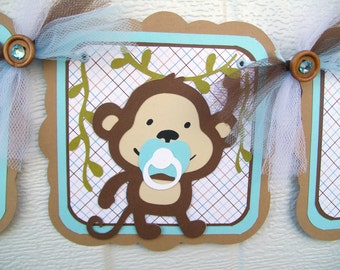 Monkey baby shower banner, monkey banner, baby monkey banner, it's a boy banner, monkey boy banner, blue and brown, baby shower boy,