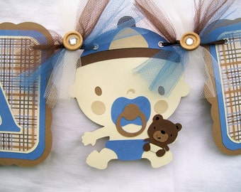 Baby boy, teddy bear, baby shower banner, in blues and browns,its a boy