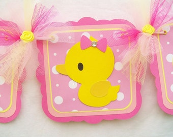 Rubber duck banner, duck banner, duck baby shower, rubber duck baby shower, it's a girl banner, pink and yellow decorations, photo prop,