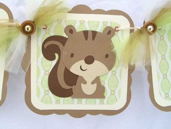 Squirrel baby shower banner, woodland animal baby shower, its a boy banner, green and brown, SALE