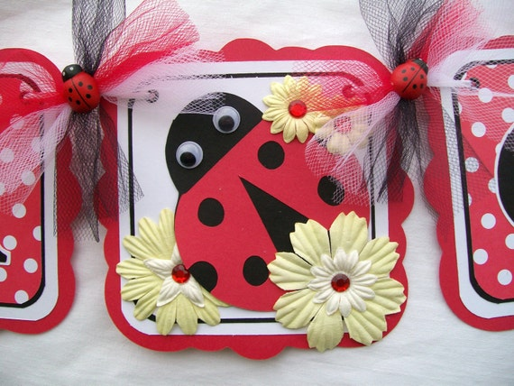Lady bug baby shower banner, its a girl - READY TO SHIP