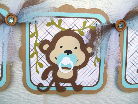 Monkey baby shower banner, monkey banner, baby monkey banner, it's a boy banner, monkey boy banner, blue and brown, baby shower boy,