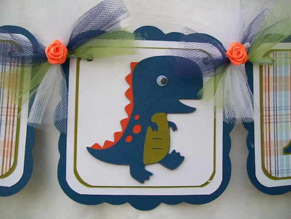 Blue dinosaur baby shower banner, its a boy - READY TO SHIP - clearance