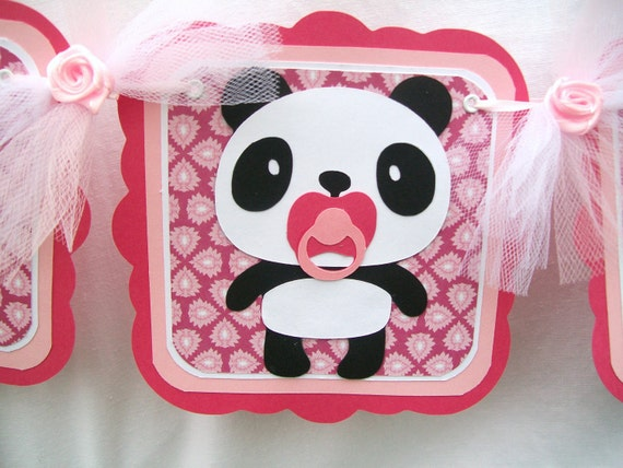 Panda baby shower banner, baby panda, its a girl, in shades of pink