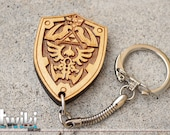 Zelda Hylian Shield Keychain OR Zelda Hylian Shield Charm Accessory - wood zelda shield keychain, wood zelda shield charm, stocking stuffer
