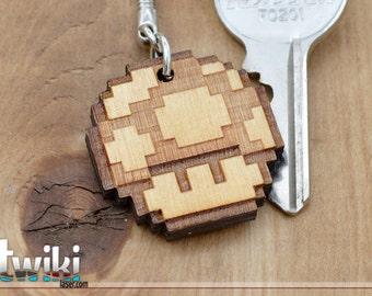 Mario Bros 8bit 1UP wood keyring OR charm