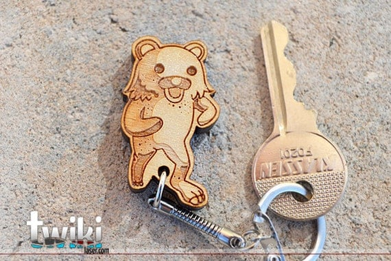Laser cut and engraved PedoBear wood keychain OR charm accessory