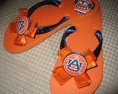 Tigers Flip Flops with Auburn University Tigers fabric