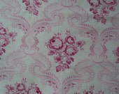 Gorgeous Vintage Fabric Fuschia Pink Roses Rosebuds Would Make a Fabulous Pillow Quilting Feedsack Dolls Clothes