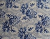 Vintage French Fabric Blue Dog Roses Rosebuds Unused Suitable for Patchwork Quilting Lavender Bags Feedsack Pillow