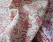 Vintage French Cream Cotton Fabric Pink Flowers Art Nouveau Patchwork Quilting Lavender Bags Feedsack