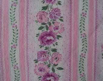 Vintage French Fabric Fuschia Pink Roses Stripes Suitable for Patchwork Quilting, Lavender Bags Feedsack
