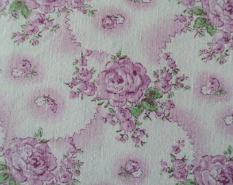 Beautiful Vintage French Cotton Fabric Fuschia Pink Roses Rosebuds Pillows Patchwork Quilting Lavender Bags Feedsack