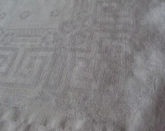 4 Vintage French White Linen Napkins Floral Greek Key Design