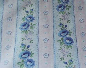 Vintage French Faded Fabric Blue Roses Pink and Blue Stripes Suitable for Patchwork Quilting, Lavender Bags Feedsack