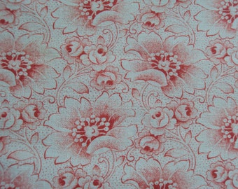 Vintage French Fabric Pink Roses Rosebuds Flowers Suitable for Patchwork Quilting Lavender Bags Feedsack Pillow