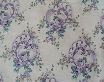 Vintage Fabric Lilac Roses Suitable for Patchwork Quilting Lavender Bags Feedsack Pillow
