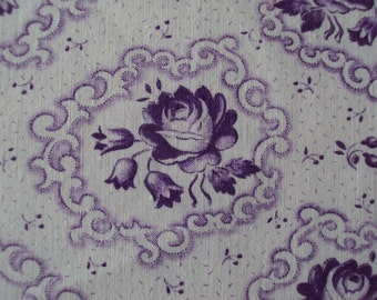 Vintage French Cotton Fabric Lilac Lavender Roses Bells Suitable for Patchwork Quilting, Lavender Bags Dolls Clothes Feedsack