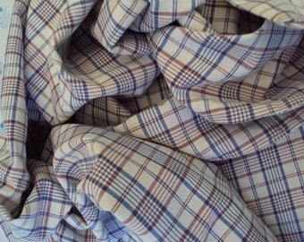 Vintage French Cotton Fabric Blue and Maroon Check Plaid Suitable for Patchwork Quilting Lavender Bags Feedsack Pillow Napkins