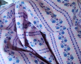 Vintage Fabric Pink Check Blue Flowers Lilac Stripes Quilting Patchwork Lavender bags Pillow Feedsack