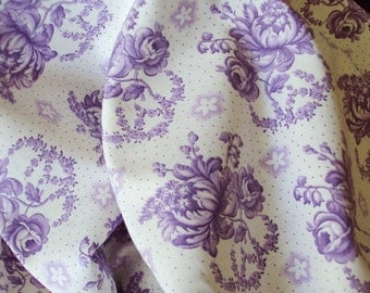 Vintage French Fabric Lavender Roses Rosebuds Lily of the Valley Unused Suitable for Patchwork Quilting Lavender Bags Feedsack Pillow