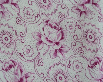 Vintage Fabric Pink Roses Scrolls Suitable for Patchwork Quilting Lavender Bags Feedsack Pillow