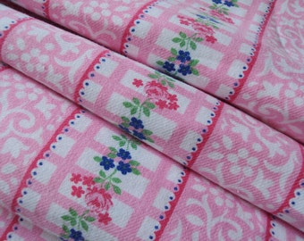 Vintage Fabric Pink White Plaid Stripes Floral Roses Daisies Suitable for Patchwork Quilting, Lavender Bags Feedsack