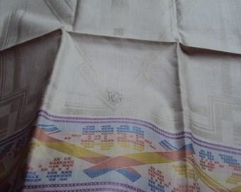 Vintage Linen Damask Hand Towel Unused Art Deco Geometric Design Monogram EG or EC 3 Available