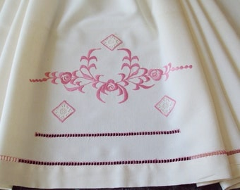 Vintage French Cream Linen Metis Sheet Pink Embroidery Pink Roses and Jours Crochet Appliques Unused make a Fabulous Curtain