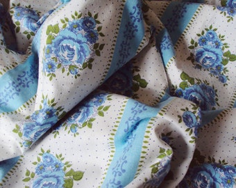 1 Yard Vintage Fabric Blue Roses Rosebuds Flowers Stripes Blue and White Suitable for Patchwork Quilting Lavender Bags Feedsack Pillow