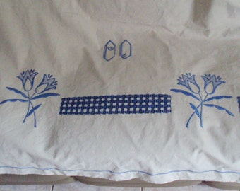 Now Reduced Vintage French Cream Linen Sheet Monogram CD Blue Embroiderd Tulips Cutwork Jours Ladderwork