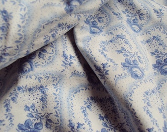 Vintage French Fabric Blue Roses Rosebuds Suitable for Patchwork Quilting Lavender Bags Feedsack Pillow