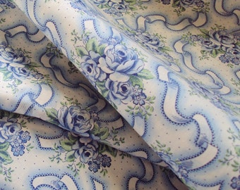 One Yard Vintage French Cotton Fabric Blue Roses Rosebuds Ribbons Unused Patchwork Quilting Lavender Bags Pillows Feedsack