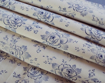 Vintage French Fabric Blue Roses and Rosebuds Suitable for Patchwork Quilting Lavender Bags Feedsack Pillow