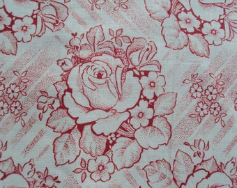 Vintage French Fabric Red Roses Primroses Never been Used Suitable for Patchwork Quilting, Lavender Bags Feedsack